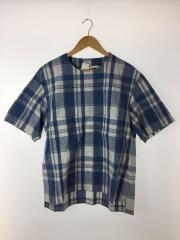 Tシャツ/3/コットン/ブルー/チェック/16S22