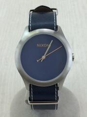 クォーツ腕時計/アナログ/レザー/NVY/a348307/