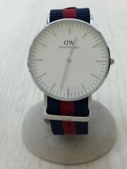 クォーツ腕時計/アナログ/キャンバス/WHT