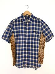 半袖シャツ/XL/コットン/BLU/チェック