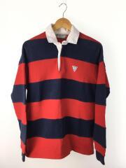 ラガーシャツ/L/コットン/RED/ボーダー