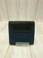 2つ折り財布/レザー/BLU