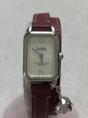 クォーツ腕時計/アナログ/レザー/WHT/BRD