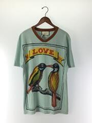 18SS/VネックTシャツ/M/コットン/BLU/453283