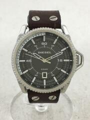 ディーゼル/クォーツ腕時計/アナログ/レザー/ブラック/ブラウン