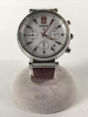 V175-0DY0/ソーラー腕時計/アナログ/レザー/WHT/RED