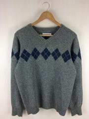セーター(薄手)/L/ウール/GRY