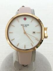 クォーツ腕時計/アナログ/レザー/WHT/PNK/ケイトスペードニューヨーク/ksw1325