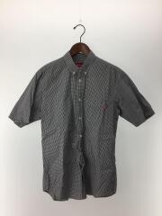 半袖シャツ/M/コットン/BLU/千鳥格子