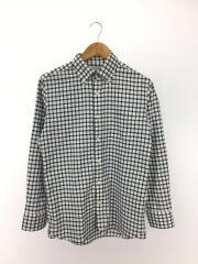 長袖シャツ/38/ポリエステル/WHT/チェック/首まわり薄くシミ有
