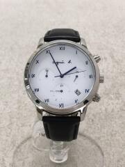 ソーラー腕時計/アナログ/レザー/WHT/BLK/状態B