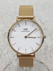 クォーツ腕時計/アナログ/ステンレス/WHT/GLD/classic E32R1