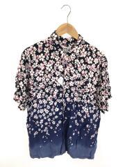 アロハシャツ/XL/レーヨン/NVY/花柄/桜