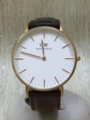 クォーツ腕時計/アナログ/レザー/WHT/BRW/DW00100035/ベルト使用感有