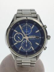ソーラー腕時計/クロノグラフ/アナログ/ステンレス/BLU/SLV/V176-0AE0
