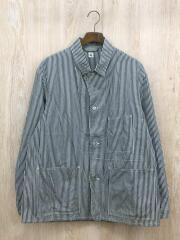 18SS FINX COTTON-LINE 3POCKET CHORE JACKET/38/コットン/ストライプ