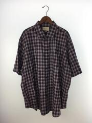 半袖シャツ/46/コットン/ネイビー/チェック/オーバーサイズシャツ