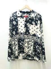 17SS/Laces Rayon Shirt/長袖シャツ/M/コットン/ブラック/総柄