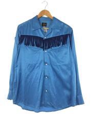 VELVET/ベルベット/フリンジカウボーイシャツ/長袖シャツ/S/コットン/BLU/オープンカラー