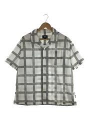 半袖シャツ/S/ポリエステル/WHT/チェック
