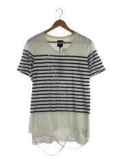 Tシャツ/S/コットン/WHT/ボーダー