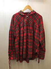 String Shirt/プルオーバー 長袖シャツ/XS/コットン/RED/チェック