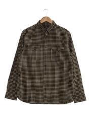 4700112775/チェックシャツ/長袖シャツ/L/コットン/ブラウン/チェック