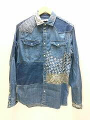OJARDORF/DENIM PATCHWORK SHIRT JACKET/長袖シャツ/S/コットン/IDG
