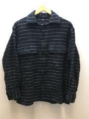 Open Collar Shirt/オープンカラーシャツ/長袖シャツ/36/コットン/BLK/チェック