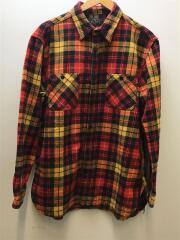 20AW ヴィンテージライク フランネル チェック ワークシャツ/長袖シャツ/L/コットン/RED