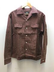 ボックス オープンカラーシャツ/長袖シャツ/L/コットン/ORN/チェック