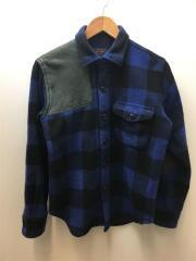 ショルダー・エルボー カウレザーパッチ ウールシャツ/バッファローチェック/長袖シャツ/S/NVY