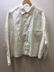 ショート丈 ワイドシャツ/シルク35%/長袖シャツ/FREE/コットン/WHT/ストライプ