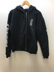 Letters Sleeve Fleece Zip Hoodie/ジップパーカー/M/コットン/BLK/