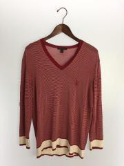セーター(薄手)/M/コットン/RED/ボーダー/シルク混