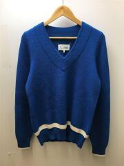 Vネックニットセーター/S/ウール/ブルー/S30HA0746