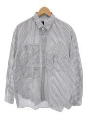 別注ミリタリーポケットシャツ ブルゾン/1/コットン/WHT/ストライプ/NMHASH-ST17AW-001