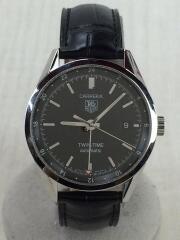 WV2115-0/EWK3240/自動巻腕時計/アナログ/レザー/BLK/タグホイヤー// カレラ ツインタイムWV2115-0