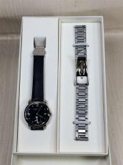 クォーツ腕時計/アナログ/レザー/NVY/NVY/FCST986/替えベルト付きステンレス
