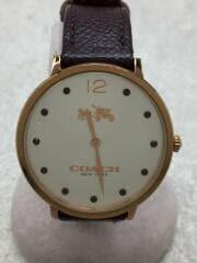 クォーツ腕時計/アナログ/レザー/GLD/BRD/日常生活防水/14502685