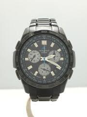 ソーラー腕時計/アナログ/チタン/BLK/OCW-600TD/天板淵キズ有/ベルトキズ多数