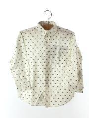 長袖シャツ/120cm/コットン/WHT/総柄/BDシャツ/ボタンダウンシャツ