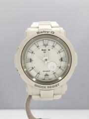 クォーツ腕時計・Baby-G/デジアナ/ステンレス/WHT/WHT/変色/着用感有