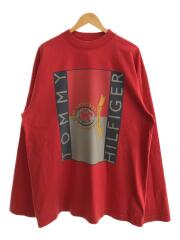 ×TOMMY HILFIGER/18SS Oversized L/S Tee/L/コットン/RED