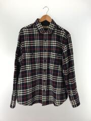 チェックコットン/フランネルシャツ/XL/ウール/NVY/チェック