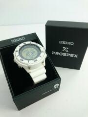ソーラー腕時計/デジタル/ラバー/BLK/WHT/SEIKO セイコー