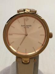 0812/クォーツ腕時計/アナログ/レザー/GLD