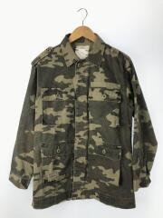 クラッシュミリタリージャケット/ミリタリージャケット/FREE/コットン/グリーン/カモフラ