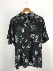 フラワープリント半袖シャツ/2/ポリエステル/BLK/花柄/108202037