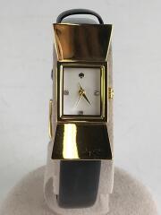 kenmare strap watch/電池切れ/クォーツ腕時計/アナログ/レザー/WHT/BLK